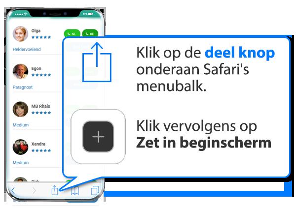 iphone en ipad: Paragnost.net als app instellen op Mobiel